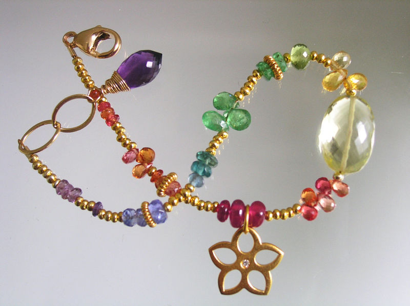 Rainbow Gemstone Gold Filled Beaded Flower Charm Bracelet with