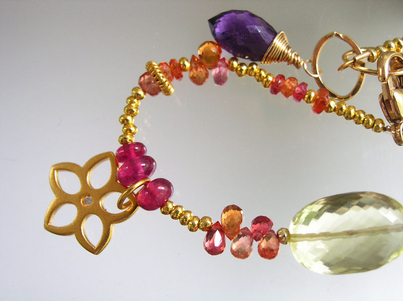 Rainbow Gemstone Gold Filled Beaded Flower Charm Bracelet with Diamond Chip, Sapphire, Lemon, Tsavorite - product images  of