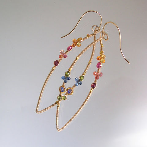 Colorful,Sapphire,Gold,Filled,Wire,Wrapped,Earrings,,Elongated,Gemstone,Almond,Dangles,Jewelry,Earrings,Sapphire_Gold,Filled_Earrings,Elongated_Dangles,Almond_Hoops,Orange_and_Blue,Artisan_Handmade,Original_Design,gold_filled_hoops,Bellajewels,Long_gem_dangles,Sapphire_Earrings,Gemstone_Hoops,Artist_Made_Earrings,14k gold filled wire,gemsto