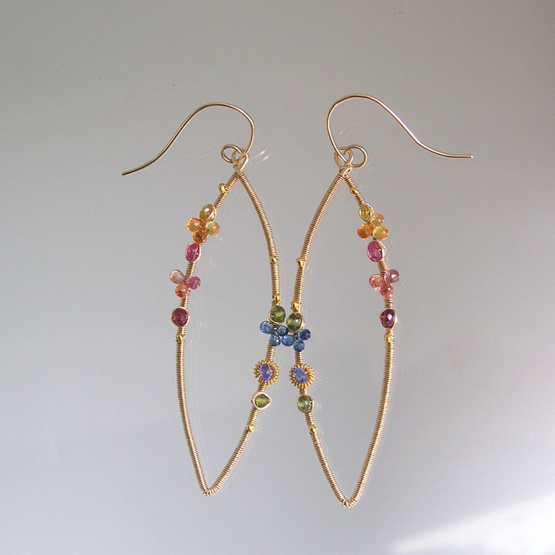 Colorful Sapphire Gold Filled Wire Wrapped Earrings, Elongated Gemstone Almond Dangles - product images  of