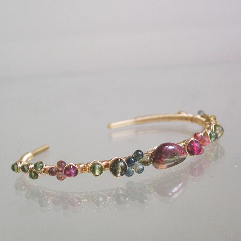 Pink and Green Tourmaline 14k Gold Filled Cuff,  Wire Wrapped Hand Wrought Bracelet, Stackable Gemstone Cuff, Original Design, Signature - product images  of
