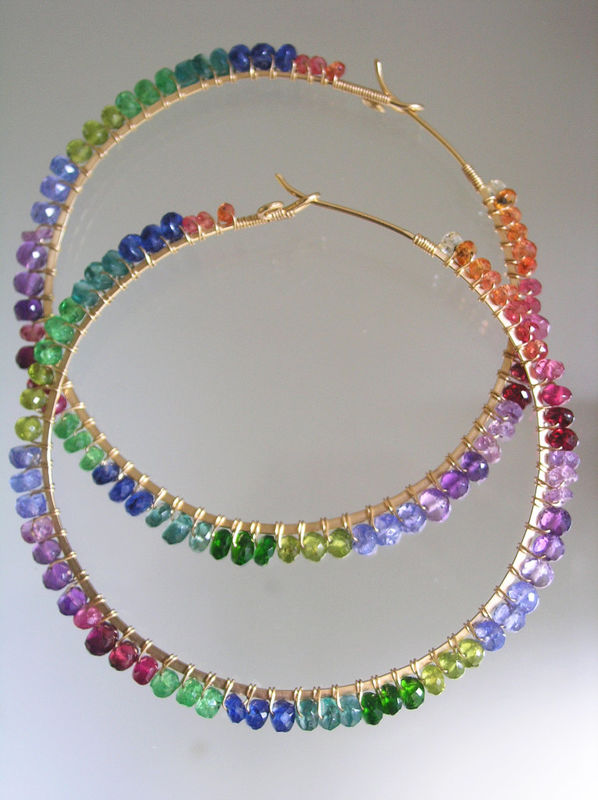 Rainbow Gemstone Rimmed 14k Gold Filled Large Hoop Earrings with Tsaovrite, Sapphire, Apatite, Ruby, Kyanite, Made to Order - product images  of