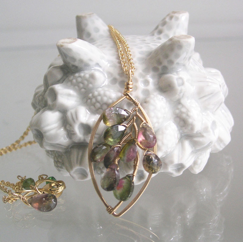 Watermelon Tourmaline 14k Gold Filled Leaf Pendant, Wire Wrapped Gemstone Necklace, Deep Green and Pink, Artisan Made, Original Design - product images  of