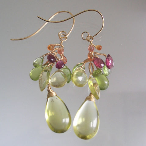 Lemon,Quartz,14k,Gold,Filled,Vine,Branch,Earrings,with,Pink,Tourmaline,,Peridot,,Sapphires,Jewelry,Lemon_Quartz,14k_Gold_Filled,Vine_Earrings,Pink_Dangles,Tourmaline_Dangles,Peridot_Vines,Sapphire_Earrings,Colorful_Jewelry,Lightweight_Vines,Original_Design,Bellajewels,Gemstone_Vines,Wire_Wrapped_Vines,14k gold filled wire,lemon quartz