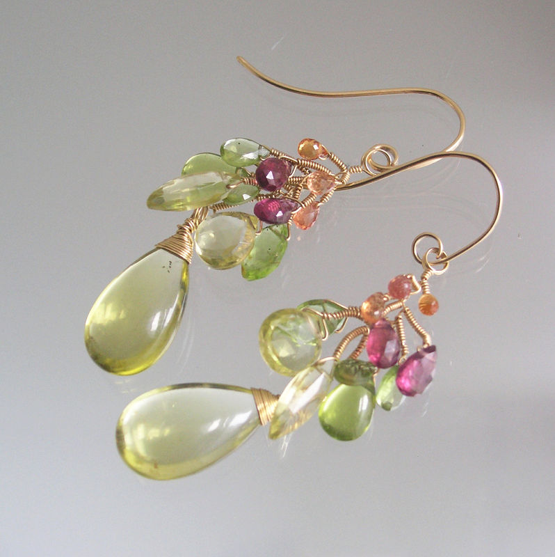 Lemon Quartz 14k Gold Filled Vine Branch Earrings with Pink Tourmaline, Peridot, Sapphires  - product images  of