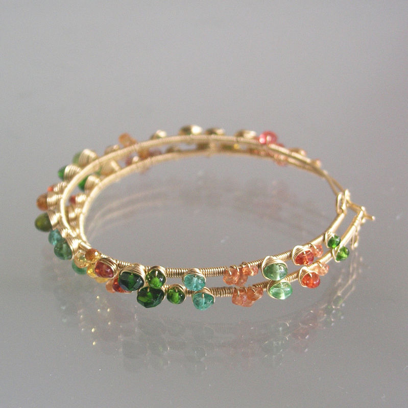 Green and Orange Gemstone Bejeweled 14k Gold Filled Hoops,  Wire Wrapped Earrings with Sapphires, Tsavorite, Diopside, Emerald - product images  of