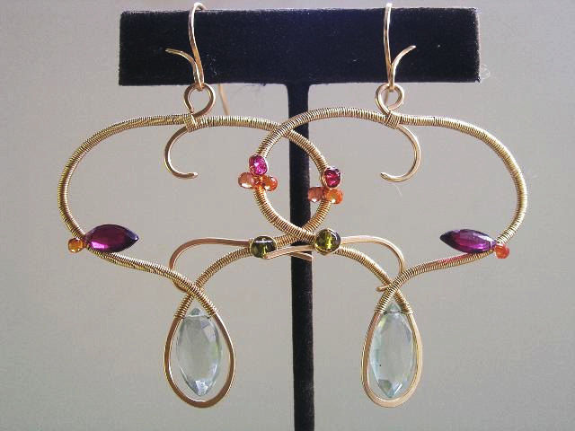 Modern Design Sculptural Gemstone Earrings in 14k Gold Fill with Garnet, Sapphire, Prasiolite - product images  of