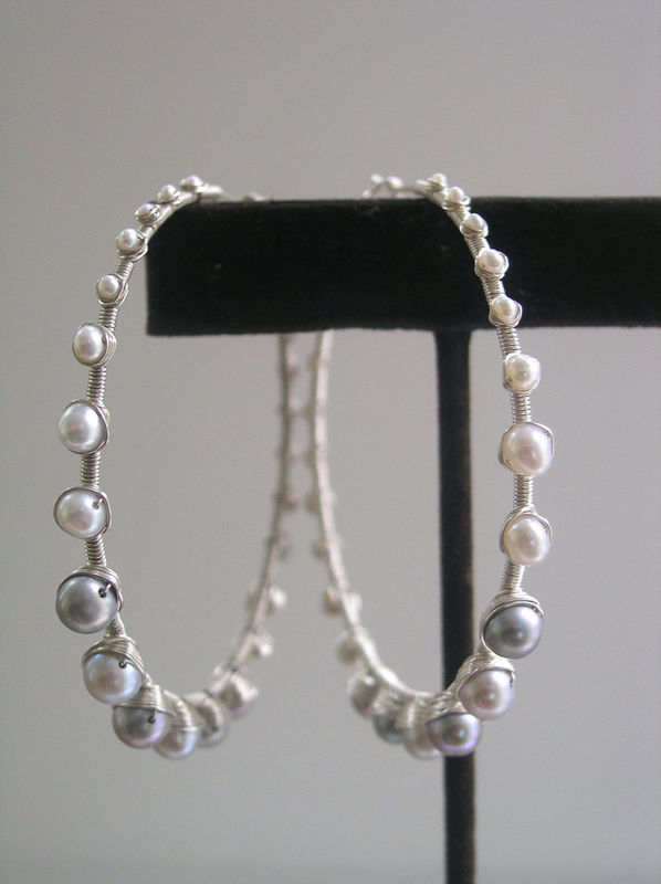 Sterling Silver Graduated Pearl Wire Wrapped Hoop Earrings - product images  of