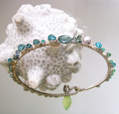 Blue,Apatite,Sterling,Silver,Bangle,,Stackable,Gemstone,Bracelet,with,Aqua,and,Sea,Green,Emerald,,Topaz,,Sapphire,,Pearl,Blue Apatite Sterling Silver Bangle, Stackable Gemstone Bracelet,  Aqua and Sea Green Emerald Bangle,  Blue Topaz Bracelet, Sapphire Bangle, Pearl Bangle