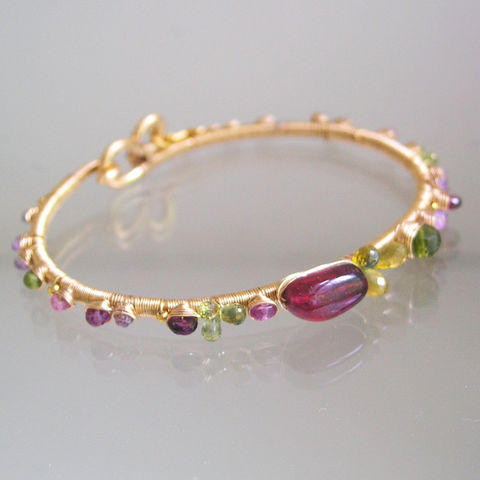 14k,Gold,Filled,Tourmaline,Bracelet,,Wire,Wrapped,Bangle,with,Pink,and,Lilac,Sapphires,,Vesuvianite,14k Gold Filled Tourmaline Bracelet, Wire Wrapped Bangle, Pink and Lilac Sapphires, Vesuvianite Bangle