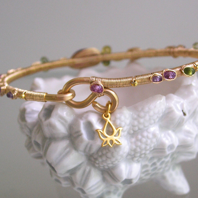14k Gold Filled Tourmaline Bracelet, Wire Wrapped Bangle with Pink and Lilac Sapphires, Vesuvianite  - product images  of
