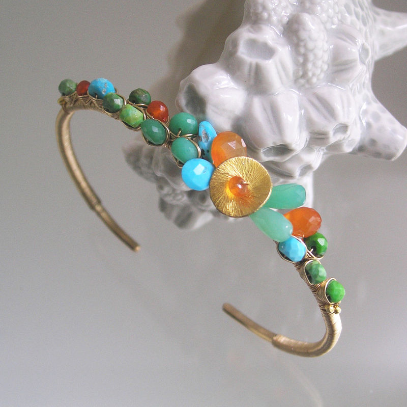 Opaque Gemstone 14k Gold Filled Cuff, Wire Wrapped Bracelet with Carnelian, Chyrsoprase and Green and Blue Turquoise - product images  of
