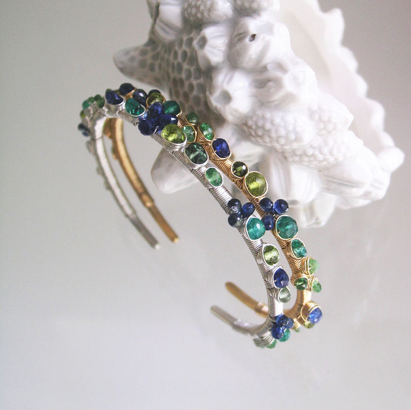 Multi Gemstone Gold Filled Cuff, Wire Wrapped Hand Wrought Bracelet with Emerald, Tsavorite, Sapphire, Kyanite, Small Sized - product images  of