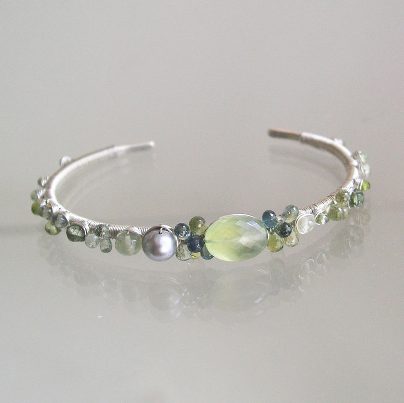 Prehnite Sterling Silver Cuff, Green Gemstone Wire Wrapped Bracelet with Tourmaline, Vesuvianite, and Sapphires - product images  of