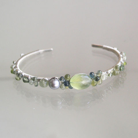 Prehnite,Sterling,Silver,Cuff,,Green,Gemstone,Wire,Wrapped,Bracelet,with,Tourmaline,,Vesuvianite,,and,Sapphires,Prehnite Sterling Silver Cuff, Green Gemstone Wire Wrapped Bracelet, Tourmaline Bracelet, Vesuvianite Bracelet, Sapphire cuff