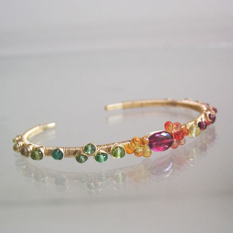 Tourmaline,Sapphire,Gold,Filled,Cuff,,Wire,Wrapped,Stackable,Colorful,Bracelet,with,Sapphires,,Garnet,,Peridot,,Emerald,Tourmaline Sapphire Gold Filled Cuff, Wire Wrapped Tsavorite Bracelet, Stackable Jewelry, Rubellite Cuff, Colorful Bracelet, Original Design, Signature