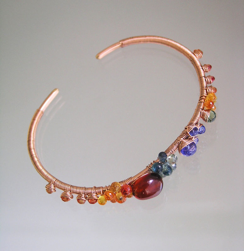 Multi Gemstone 14k Rose Gold Filled Cuff, Wire Wrapped Bracelet with Spessartite, Tanzanite, Sapphire - product images  of