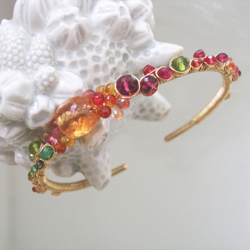 14k Gold Filled Imperial Topaz Gemstone Embellished Cuff, Stackable Hand Wrought Bracelet with Sapphire, Spinel, Tsavorite, Tourmaline - product images  of