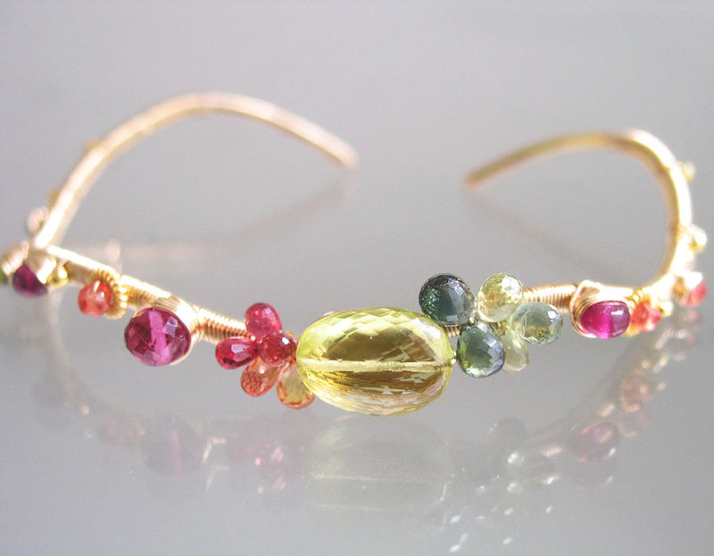 Lemon Quartz 14k Gold Filled Wavy Cuff, Multi Gemstone Stackable Bracelet with Green Tourmaline, Vesuvianite, Ruby, Sapphire - product images  of
