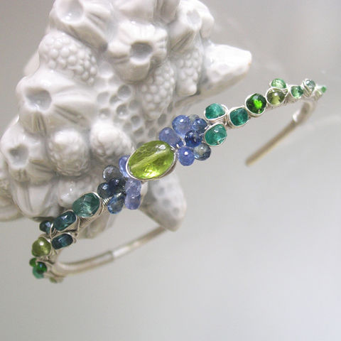 Blue,Sapphire,Wire,Wrapped,Sterling,Silver,Bracelet,,Stackable,Peridot,and,Multi,Gemstone,Cuff,with,Green,Tourmaline,,Emerald,,Apatite,,Tsavorite,Blue Sapphire Wire Wrapped Sterling Silver Bracelet, Stackable Peridot and Multi Gemstone Cuff with Green Tourmaline, Emerald, Apatite, Tsavorite