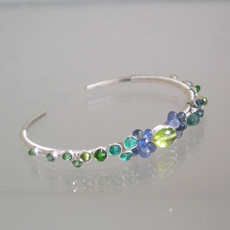 Blue Sapphire Wire Wrapped Sterling Silver Bracelet, Stackable Peridot and Multi Gemstone Cuff with Green Tourmaline, Emerald, Apatite, Tsavorite  - product images  of