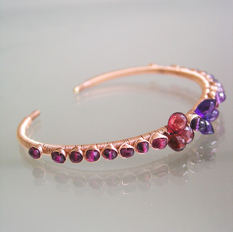 Amethyst and Garnet 14k Rose Gold Cuff, Wire Wrapped Stackable Bracelet with Spinel and Tourmaline - product images  of