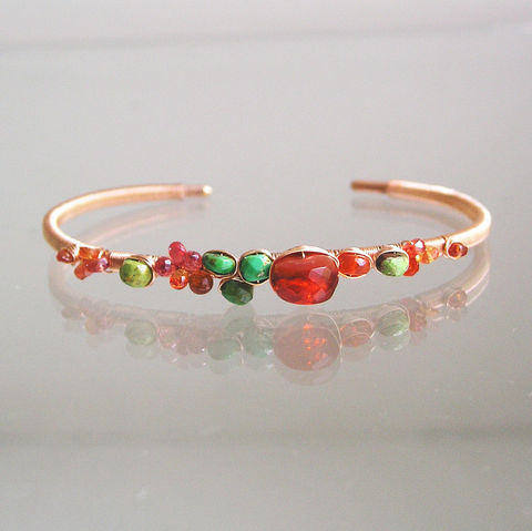 Fire,Opal,14k,Rose,Gold,Filled,Cuff,,Green,Turquoise,Stackable,Wire,Wrapped,Bracelet,with,Orange,Sapphires,Fire Opal 14k Rose Gold Filled Cuff, Green Turquoise Stackable Wire Wrapped Bracelet