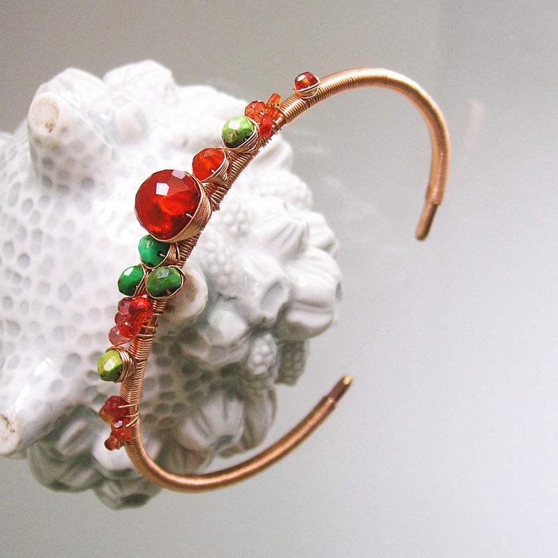 Fire Opal 14k Rose Gold Filled Cuff, Green Turquoise Stackable Wire Wrapped Bracelet with Orange Sapphires - product images  of