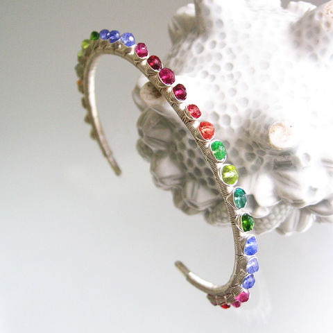 Rainbow,Gemstone,Sterling,Silver,Cuff,,Stackable,Wire,Wrapped,Bracelet,with,Sapphire,,Tourmaline,,Apatite,,Peridot,,Tanzanite,,Tourmaline,Rainbow Gemstone Sterling Silver Cuff, Stackable Wire Wrapped Bracelet with Sapphire, Tourmaline, Apatite, Peridot, Tanzanite