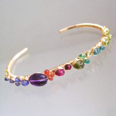 Multi,Gemstone,Studded,14k,Gold,Filled,Cuff,,Stackable,Wire,Wrapped,Bracelet,with,Tanzanite,,Amethyst,,Sapphire,,Ruby,,Tsavorite,,Emerald,Multi Gemstone Studded 14k Gold Filled Cuff, Stackable Wire Wrapped Bracelet with Tanzanite, Amethyst, Sapphire, Ruby, Tsavorite, Emerald, BellaJewels, Bella Jewels, Stackable Cuff, Wire Wrapped Cuff