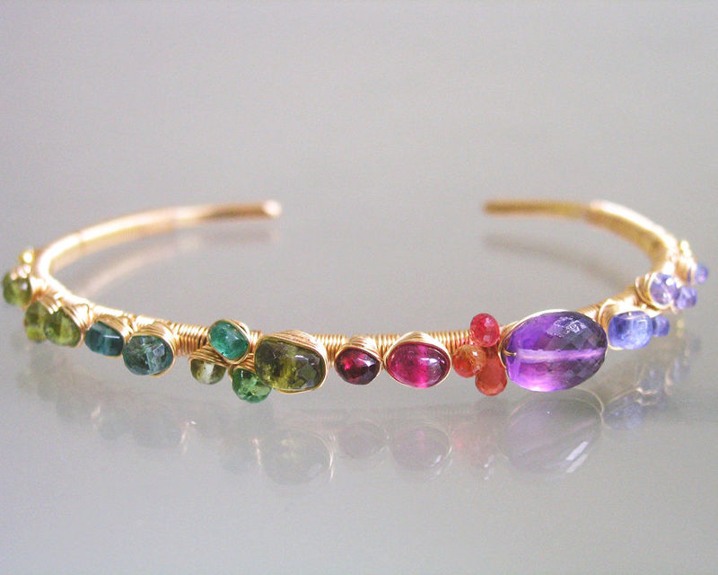 Multi Gemstone Studded 14k Gold Filled Cuff, Stackable Wire Wrapped Bracelet with Tanzanite, Amethyst, Sapphire, Ruby, Tsavorite, Emerald - product images  of