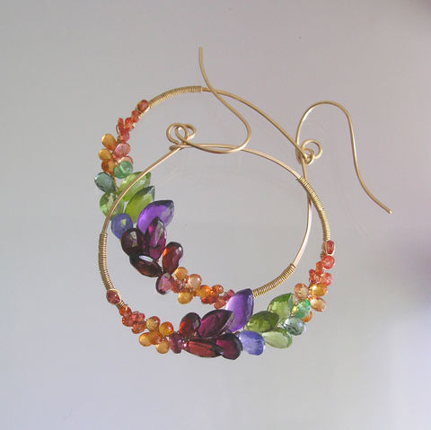 Gemstone,Hoops,with,Sapphires,,Peridot,,Amethyst,,Garnet,,Large,Rainbow,Gem,Front,Facing,Oval,Earrings,,Artisan,Designed,and,Made,Gemstone Hoops with Sapphires, Peridot, Amethyst, Garnet, Large Rainbow Gem Front Facing Oval Earrings, Artisan Designed and Made