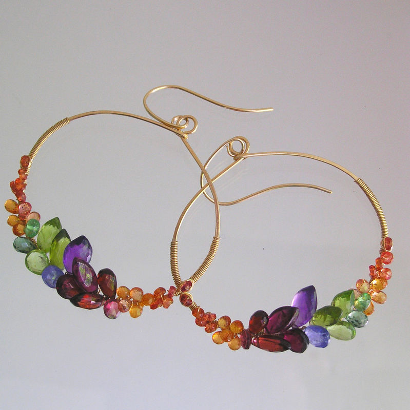 Gemstone Hoops with Sapphires, Peridot, Amethyst, Garnet, Large Rainbow Gem Front Facing Oval Earrings, Artisan Designed and Made - product images  of