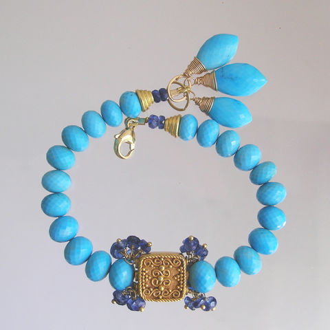Sleeping,Beauty,Turquoise,Beaded,Bracelet,with,Vermeil,Beads,and,Kyanite,Clusters,,Simple,Classic,Sleeping Beauty Turquoise Beaded Bracelet with Vermeil Beads and Kyanite Tassels, Simple and Classic