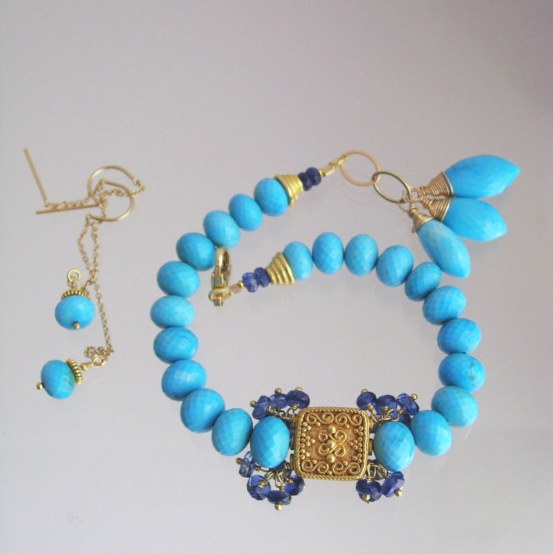 Sleeping Beauty Turquoise Beaded Bracelet with Vermeil Beads and Kyanite Clusters, Simple and Classic - product images  of