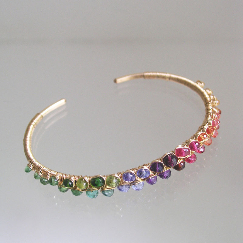 Multi Gemstone Encrusted 14k Gold Filled Cuff, Stackable Bracelet with Tsavorite, Tanzanite, Amethyst, Garnet, Sapphire - product images  of