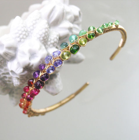 Multi,Gemstone,Encrusted,14k,Gold,Filled,Cuff,,Stackable,Bracelet,with,Tsavorite,,Tanzanite,,Amethyst,,Garnet,,Sapphire,Multi Gemstone Encrusted 14k Gold Filled Cuff, Stackable Bracelet with Tsavorite, Tanzanite, Amethyst, Garnet, Sapphire