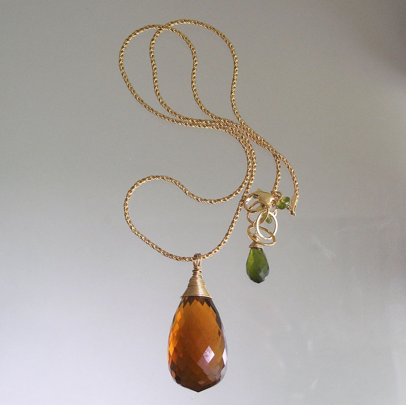 Amber Glass Briolette Pendant, 14k Gold Filled Minimalist Necklace with Vesuvianite - product images  of