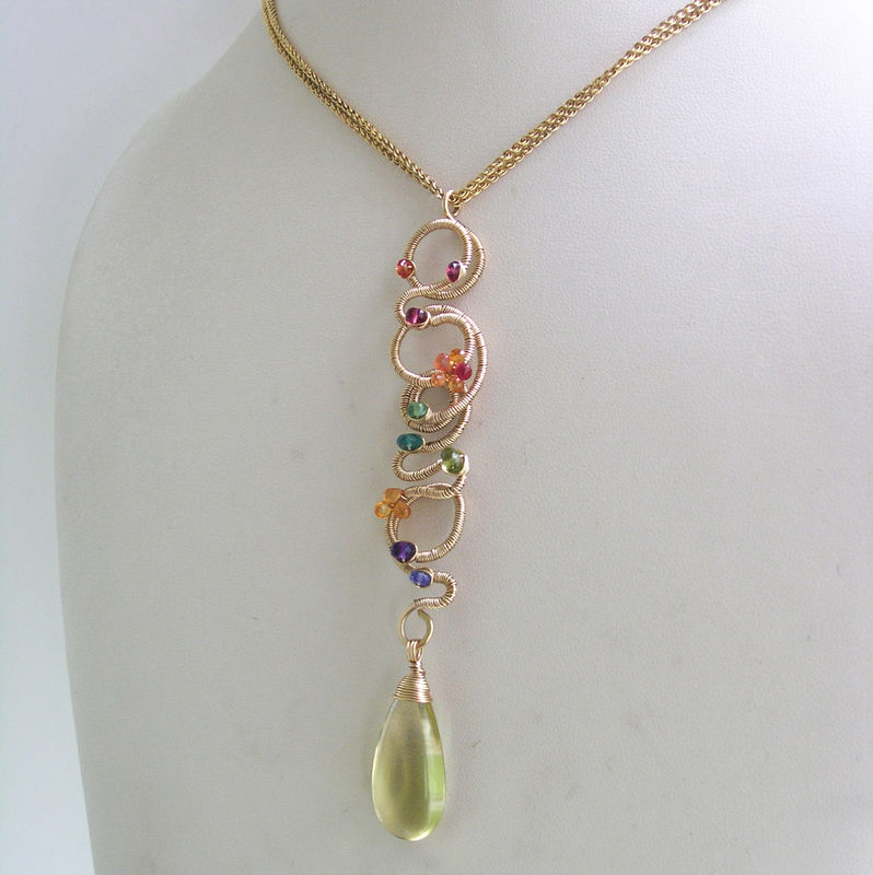 Linear 14k Gold Filled Scribble Pendant, Multi Gemstone Necklace with Emerald, Sapphire, Amethyst, Tanzanite, Spinel, Lemon Quartz Dangle - product images  of