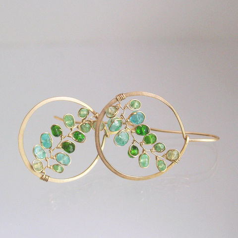 Small,Green,Gemstone,14k,Gold,Filled,Hoops,,Hand,Wrought,Vine,Earrings,with,Tsavorite,,Emerald,,and,Chrome,Diopside,Small Green Gemstone 14k Gold Filled Hoops, Hand Wrought Vine Earrings with Tsavorite, Emerald, and Chrome Diopside