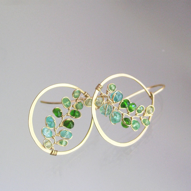 Small Green Gemstone 14k Gold Filled Hoops, Hand Wrought Vine Earrings with Tsavorite, Emerald, and Chrome Diopside - product images  of