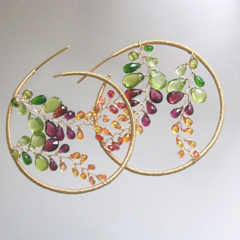 Mosaic,14k,Gold,Filled,Hoops,,Gemstone,Earrings,with,Peridot,,Garnet,,Chrome,Diopside,,Sapphire,Vines,Jewelry,Mosaic_Gold,Filled_Hoops,Gemstone_Earrings,Dramatic_Jewelry,Garnet,Chrome_Diopside,Sapphire_Vines,Original_Design,Mosaic_Earrings,Bellajewels,Peridot_Gold_Hoops,Handmade_jewelry,Gemstone_Gold_Hoops,14k gold filled wire,gemstones,peridot,v