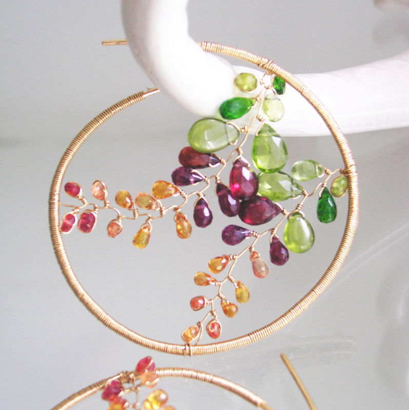 Mosaic 14k Gold Filled Hoops, Gemstone Earrings with Peridot, Garnet, Chrome Diopside, Sapphire Vines - product images  of