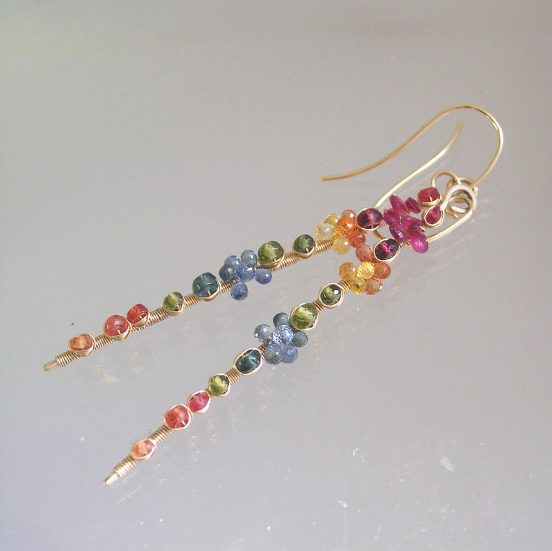 14k Solid Gold Multi Sapphire Linear Earrings, Long Stems with Tourmaline, Vesuvianite, Apatite - product images  of