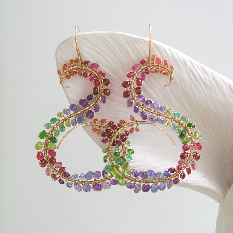Large Curvaceous Multi Gemstone 14k Gold Filled Earrings, Sculptural Rainbow Statement Earrings with Sapphires, Amethyst, Tanzanite, Emerald, Peridot   - product images  of