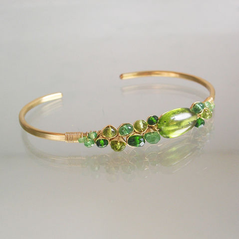 Peridot,14k,Gold,Filled,Cuff,,Mixed,Green,Gemstone,Bracelet,,Asymmetrical,Stackable,and,Earthy,August,Birthstone,,Artisan,Designed,Peridot Cuff, Gemstone Cuff, Green Gemstone Cuff, Artisan Designed and Made, Stackable Gemstone Cuff, Asymmetrical Gem Bracelet, Earthy Cuff, August Birthstone Bracelet, BellaJewels, Vesuvianite Cuff, Chrome Diopside Cuff, Wire Wrapped Gold Filled Cuff, M