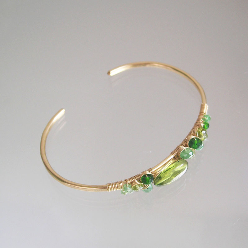 Peridot 14k Gold Filled Cuff, Mixed Green Gemstone Bracelet, Asymmetrical Stackable and Earthy Cuff, August Birthstone, Artisan Designed - product images  of