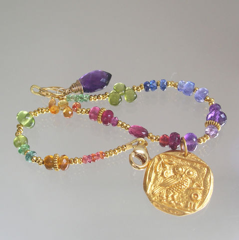 Rainbow,Gemstone,Bracelet,,Vermeil,Beaded,Gem,Bracelet,with,Large,Owl,Coin,Charm,,Layering,Multi,Artisan,Designed,and,Made,,Chakra,Gemstones,Rainbow Gemstone Bracelet, Vermeil Beaded Gem Bracelet, Owl Coin Charm Bracelet, Layering Bracelet, Chakra Gemstone Bracelet, BellaJewels, Bella Jewels, Vermeil Beaded Bracelet