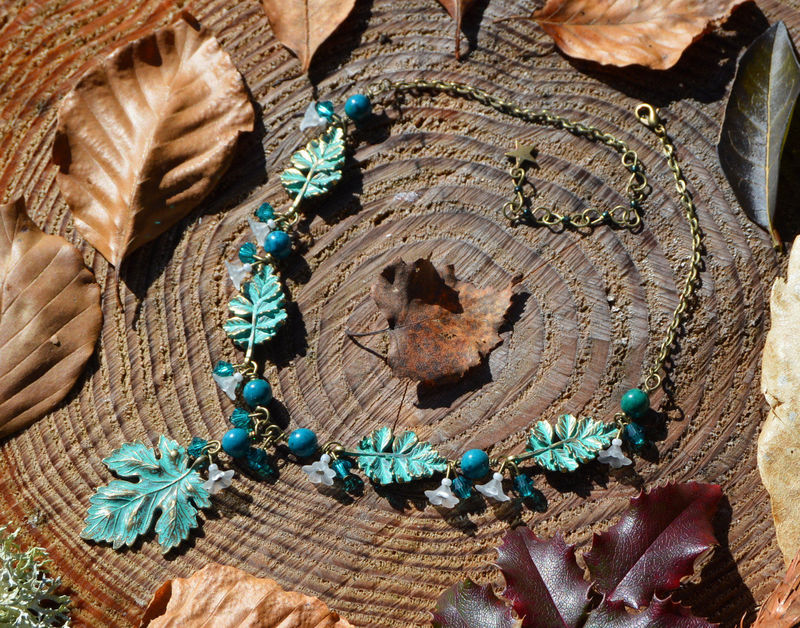 Elven Leaf Necklace In Chrysocolla And Swarovski Crystals
