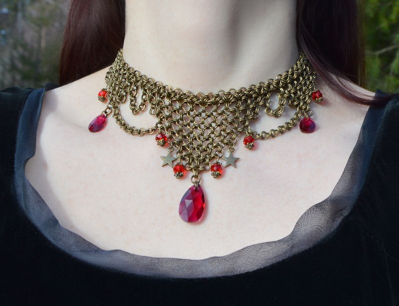 Fantasy medieval chainmail jewelry with leaf green crystal pendants fantasy medieval chainmail jewelry with leaf green crystal pendants steampunk absinthe fairy necklace elf cosplay jewelry celtic green crystal choker aloadofball Image collections